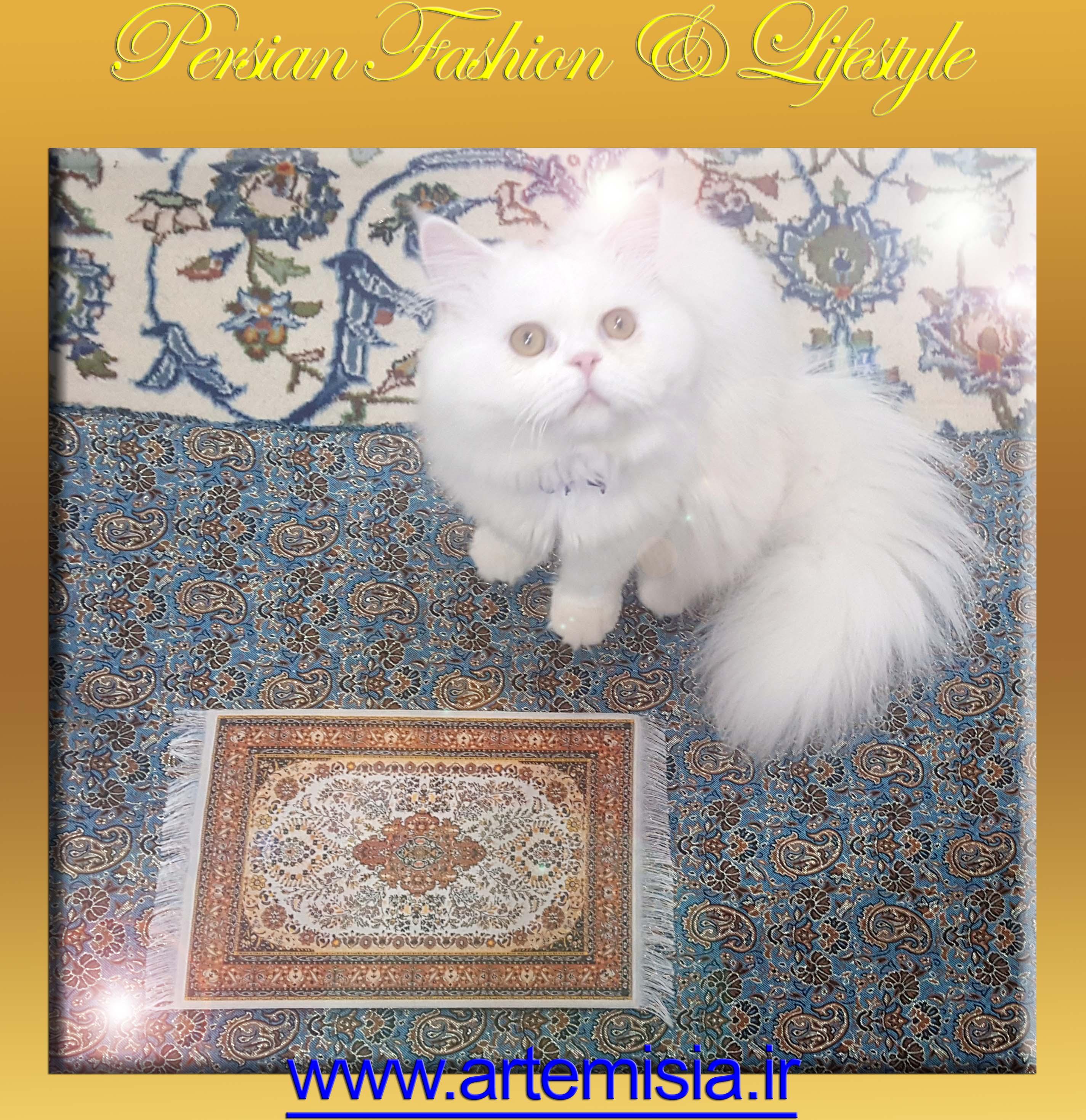 Persian White Iranian Carpet Mouse Pad Kashan