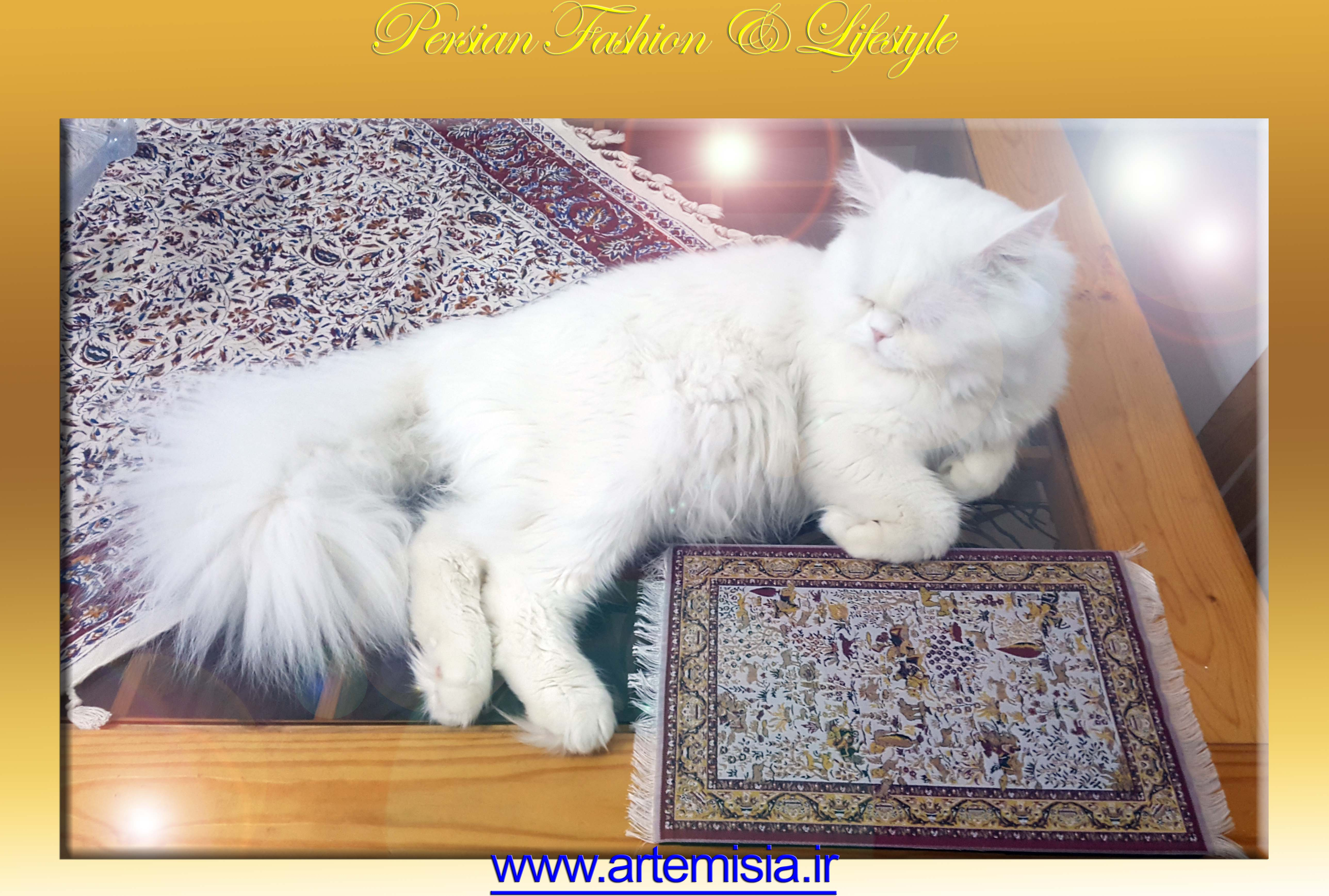Persian White Iranian Carpet Mouse Pad Shekargah